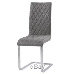 Grey Dining Chairs 2/4/6 Distressed Faux Leather Chrome Legs Kitchen Dining Room