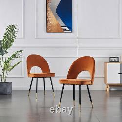 Grey Dining Chairs 2 4 6 Set Metal legs Retro Velvet Dining Room Chair Kitchen