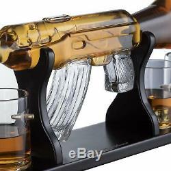 Gun Lovers Large Decanter Set Bullet Glasses Limited Edition Elegant Rifle Gun
