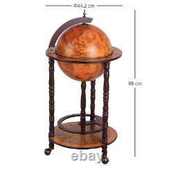 HOMCOM Globe Drink Cabinet Mini Bar Movable Double Deck Wine Bottle Stand