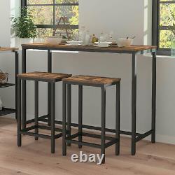 HOOBRO Bar Table Set with 2 Bar Stools Breakfast Bar Table Kitchen Pub Table