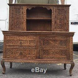 Hand Carved Vintage Wooden Cabinet Dresser Drawer Made In Sussex