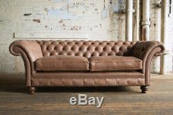Handmade 3 Seater Light Natural Brown Leather Chesterfield Sofa Couch Chair
