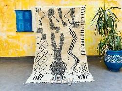 Handmade (7.5 x 4.6 foot) vintage Morrocan beni ourain azilal Berber Rug