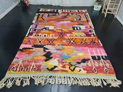 Handmade Boujad Moroccan Vintage Rug 6'3x9'8 Abstract Orange Pink Berber Carpet