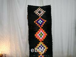 Handmade Moroccan Vintage Berber Runner Rug 2'2x8'3 Geometric Wool Black Carpet