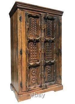 Huge Vintage Sold Wood Sheesham Indian Style Ornate Cupboard