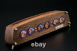 IN-4 Nixie Tubes Clock Oak Vintage Wooden Case Slot Machine 12/24H FREE SHIPPING
