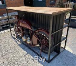 Indian Motorbike Home Bar / Shop Counter / Sideboard Retro Vintage style Bike