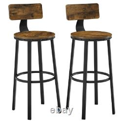 Industrial Bar Stools Vintage Tall Chair Rustic Metal Breakfast Dining Seat Set2