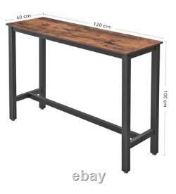Industrial Bar Table Vintage Kitchen Breakfast Rustic Metal Narrow Tall Dining