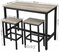 Industrial Bar Table and 2 Stools Vintage Tall Breakfast Rustic Dining Kitchen