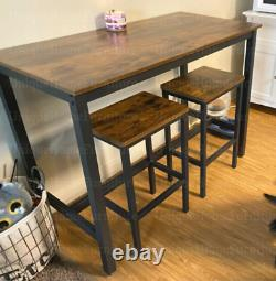Industrial Bar Table and Stools Tall Rustic Kitchen Vintage Breakfast Dining Set