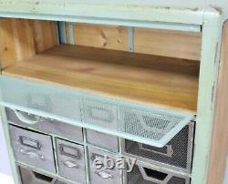 Industrial Cabinet Storage Display Drawers Metal Wood Vintage Retro Style New
