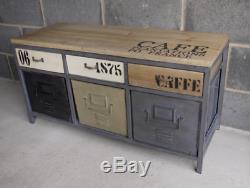 Industrial Cabinet wooden top caffe steel side board loft urban modern decor