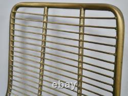 Industrial Dining Chair Vintage Retro Seat Wire Rustic Gold Metal Kitchen Office