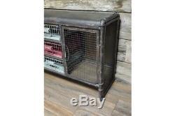 Industrial Grey Storage Vintage Metal Cabinet 3 Drawers 2 Door Side Cabinet