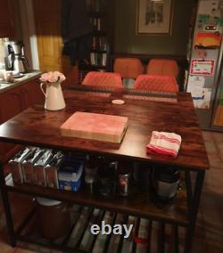 Industrial Kitchen Island Vintage Storage Table Rustic Metal Large Shelf Cabinet