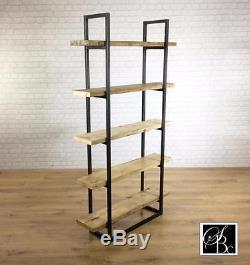 Industrial Retro Bookcase Unit Vintage Metal Reclaimed Solid Storage Pine