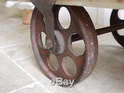 Industrial Retro Vintage Reclaimed Chunky Wood Metal Coffee Table Wheels Dx3173