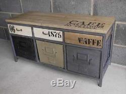 Industrial Retro Vintage Reclaimed Grey Metal Wood Cabinet Sideboard (d2657)