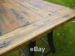 Industrial Retro Vintage Reclaimed Metal Wood Kitchen Dining Table (d3500)