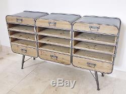 Industrial Retro Vintage Reclaimed Metal Wood Large Cabinet Sideboard (d3964)