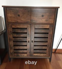 Industrial Side Cabinet Vintage Storage Sideboard 2 Doors Rustic Cupboard Drawer