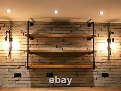 Industrial Steampunk Shelving Unit Made From Pipe and Treated Reclaimed Timber