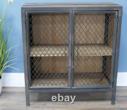 Industrial Storage Cupboard Vintage Retro Side Cabinet Rustic Metal Display Unit