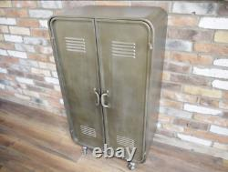 Industrial Storage Cupboard Vintage Retro Tall Side Cabinet Rustic Metal Unit