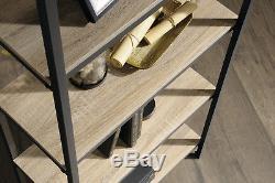 Industrial Style 4 Shelf Bookcase Black Steel Frame with Oak Effect Shelves