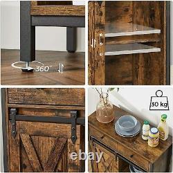 Industrial Style Storage Cabinet Slim Cupboard Wood Unit Small Sideboard Vintage