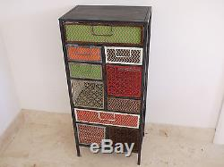 Industrial Tall Multi Coloured 10 Drawer Cabinet Chest Of Drawers Storage Unit