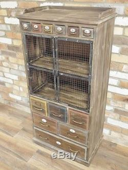 Industrial Vintage Retro Antique Wood Metal Style Tall Storage Cabinet (d4487)