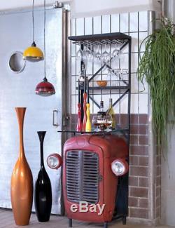 Industrial Wine Cabinet Vintage Retro Storage Tall Mini Bar Bottle Holder Rack