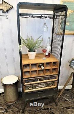 Industrial retro vintage Wine rack Storage Unit Drinks kitchen Display Cabinet