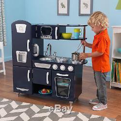 KidKraft Navy Retro Vintage Pretend Play Toddler Kids Toy Wooden Cooking Kitchen