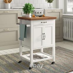 Kitchen Trolley Island Vintage Storage Cart White Wooden Butchers Block Cupboard