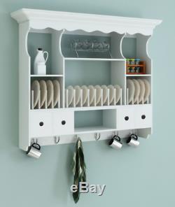 Kitchen Wall Cabinet Shabby Chic Storage Wooden White Dresser Vintage Plate Rack