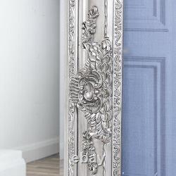 Large Antique Silver Mirror Heavily Ornate Full Length Wall Decor 120cm x 90cm