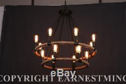 Large Farmhouse ROPE Iron Chandlier Light Bar Restaurant 14 Bulb Rustic Rusty