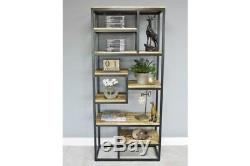 Large Industrial Retro Iron & Mango Wood Storage Unit Bookcase Display Shelving