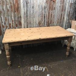 Large Pine Dining Farmhouse Table Country Kitchen Rustic