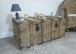 Large Pirates Chest Box Coffee Table In Weathered Oak Finish Top Opens Up