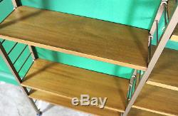 Large Vintage Ladderax Shelving Unit, 5 Bay, Teak, Gold Metal Ladders, Bookcase