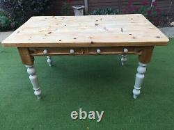 Large Vintage Pine Kitchen Dining Table with 6 chairs