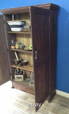 Large Vintage Pine/Oak And Mahogany Kitchen Larder Pantry Cupboard/ Housekeepers