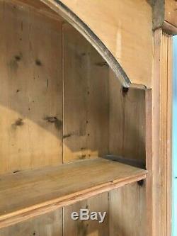 Large Vintage Solid Stripped Pine Bookcase Book Shelves Farmhouse Storage Unit