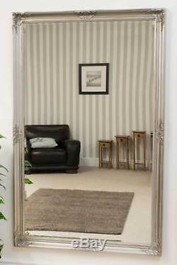 Large Wall Mirror X Silver Vintage Bevelled 5Ft6 X 3Ft6 165.5cm X 105.5cm